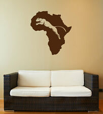 African Continent With Mountain Lion Vinyl Decal, D00220.
