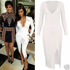 Womens Celeb Style White Longsleeve Plunge Party Evening Cocktail Midi Dress