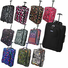 HAND LUGGAGE 50X40X20 WHEELED OWL LIGHTWEIGHT CABIN EASYJET TROLLEY BAG CASE