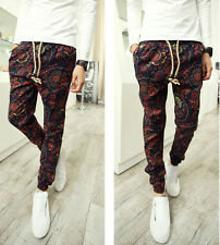 New Men's Fashion Autumn Floral Patterned Slim Casual Linen Harem Long Pants