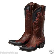 Lane Boots Women's 'Dolly' Brown Black/Red Overlay Cowboy Boots LB0054A