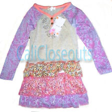 Baby Sara Boutique Girls Dress Purple and Gray Floral Boho Toddler, Pre-Teen