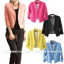 Chic Womens Vintage Candy Color OL Casual Career Suit Blazer Coat Jacket Top EE