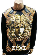 Men's looked Versace Medusa Face Gold Chained Art Graphic Crew Neck Sweater.