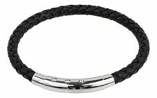 6mm Black/Brown Braided Leather Bracelet Stainless Steel Clasp Adjustable Length