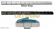 MOTORCYCLE WHEEL/TYRE ADHESIVE BALANCE WEIGHTS. SILVER BLACK OR NICKEL. 12 X 7g