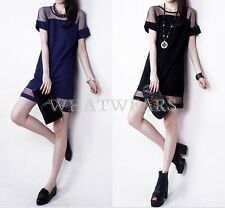 Fashion Womens Sexy Shoulder See-through Chiffon Patched Short Sleeves Dress FUS