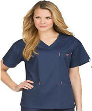 Med Couture Signature Nurse Scrub Top. Style 8403. Navy / Apricot. NEW Free Ship
