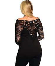 Plus Size Sexy Ladies 3/4 Lenght Lace Sleeve Lace Sheer Back Vneck Top1x2x3x4x5x