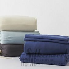 100% Organic Cotton Bedding, 4 PC Coyuchi Jersey Sheet Set, Solid, Deep Pockets