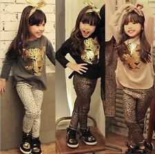 New Kids Girls Animal Leopard Shining Top + Pants Leggings 2 pcs/Set Outfit