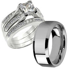 Princess Cut  Hers CZ Sterling Silver His Tungsten Wedding Engagement Ring  Set