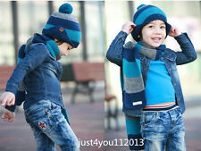 Fashion Baby Girl Toddler Kid Winter Warm Knitted Crochet Beanie Hat scarf NEW