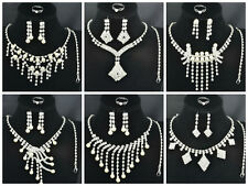 Elegant 4Pieces Set Bridal Wedding Prom Rhinestone Pearl  Necklace Earrings Set