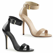 PLEASER - Amuse-10 Closed Back Sandal With Buckled Ankle Strap, Black And Cream