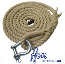 "Synthetic Hemp Climbing Rope, Fitness Indoor Outdoor  With 6"" Soft Eye & Shackle"