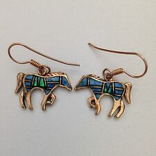 Bronze Handmade Inlay Stone Horse Hook Dangle Earrings