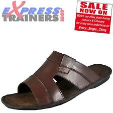 Premier Mens Moza Leather Slip On Mule Sandals Brown * AUTHENTIC *