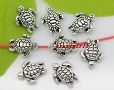 Wholesale lot 60/120pcs Tibet Silver two-sided tortoise Charm Spacer Beads 9x7mm
