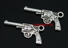 lot 40/80pcs Tibet Silver two-sided pistol Jewelry Finding Charm Pendant 24x12mm