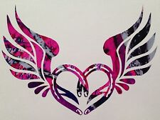 "Horseshoe Wings Heart Vinyl Decal 5"" Truck Blue Camo Cowgirl Muddy Girl Country"