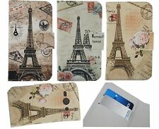 3 Colors Eiffel Tower PU Leather Flip Case Cover Skin for Nokia Alcatel Phones