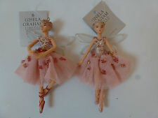 Gisela Graham Sugar Plum fairy Christmas Tree Decoration 2 asst 11cm