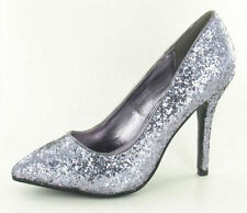 "LADIES SPOT ON PEWTER GLITTER COURT SHOES ""F9666"""