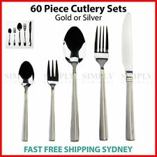 60 Piece Stainless Steel Cutlery Set Silver Gold Bulk Sets - Knife, Fork, Spoon