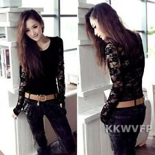 Sexy Women Punk Backless Long Sleeve Sheer Floral Lace Slim Casual T-Shirt Tops