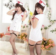 Sexy White Nurse Uniform Costume Cosplay Lingerie +Stocking for Party HOT