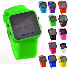 12 Color Storm Men Lady Mirror LED Date Day Silicone Rubber Digital Wrist Watch