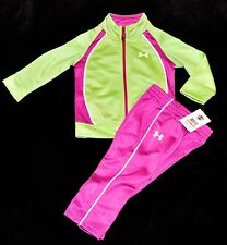 Under Armour green pink track sweats suit jacket pants toddler girls 12 18 Mths