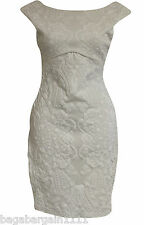 RRP £45 NWT JANE NORMAN WHITE JACQUARD LACE FEEL EVENING PARTY STRETCHY DRESS