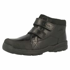 Boys Clarks Diggy Up GTX Black Leather Smart Velcro Strap Waterproof Ankle Boots