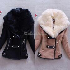 2014 New Winter Women Lady Faux Fur Collar Short Slim Jacket Coat Tunic Outwear