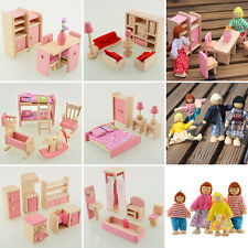Wooden Dolls House Furniture Miniature 6 Room For Kids Children Xmax Gifts