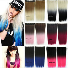 Womens Ombre Synthetic Long Straight Five Clips Two Tone Gradient Hair Extension