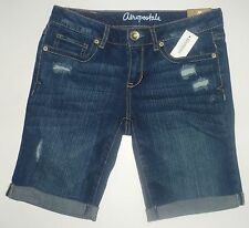 Womens AEROPOSTALE  Medium Wash Destroyed Denim Bermuda Shorts NWT #0551