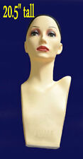 "20.5"" PVC Mannequin Manikin Head Bust for Wig Hat Necklace Jewelry Display PZJG#"