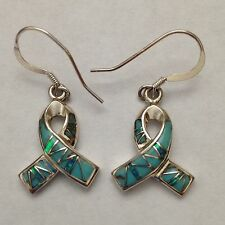 Sterling Silver Handmade Inlay Stone Cancer Ribbon Hook Dangle Earrings