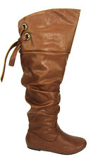 Soda Women Over the Knee Thigh High Black Slouchy Flat Boots Brown Lace Up LETTA