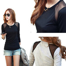 Lady Women's Long Sleeves Sexy Lace Cotton Shirt Blouse T-shirt Tops Fashion New