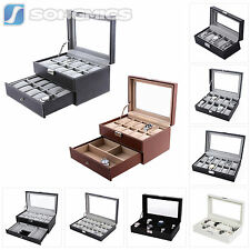 Songmics Leather Watch Box Glass Top Jewelry Display Organizer Storage Case
