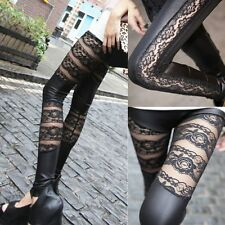 New Sexy Rock Punk Armor Corset Lace Leather Black Ankle Leggings Tights Pants