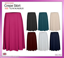 New Ladies Women Plain Pull On Six Panel Crepe Skirt Plus Sizes 12-22
