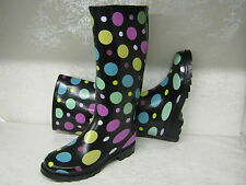 Ladies X1109 Funky Black With Multi-coloured Spot Print Wellies