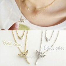 *HOT* Simple Fashion Double Layer Flying Angel Fairy Rhinestone Pendant Necklace