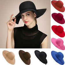 Women Felt Bowler Sun Wide Brim Hat Vintage Cloche Floppy Fedora Beach Cap Wool