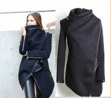 2014 hot Women Zipper PU Warm Long Coat Jacket Trench Windbreaker Parka Outwear